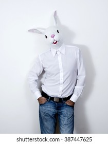 Rabbit masked Man with hands in his pockets