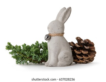 rabbit with peg & branch