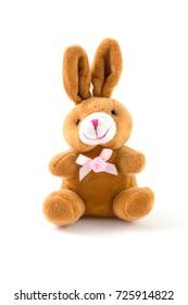 Rabbit plushie doll isolated on white background, Rabbit plush stuffed, Cute brown rabbit on white background.