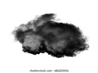 Rabbit shaped cloud of smoke isolated over white background, realistic cloud 3D illustration. Cloud shape rendering