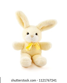 Rabbit toy on white background
