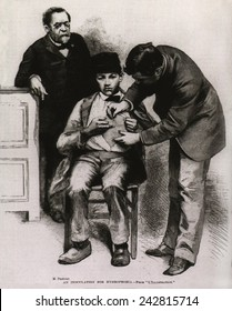 Rabies (hydrophobia) vaccination administered to teenage Jean-Baptiste Jupille at the Pasteur laboratory, in October 1885.
