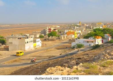 Rabil, Cape Verde - December 15, 2017: View of Rabil, the old capital city of the island of Boa Vista, Cape Verde