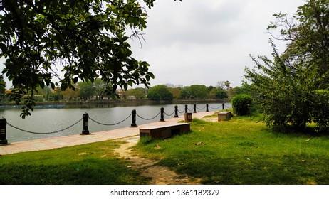 Rabindra Sarobar, an artificial lake and landmark in Kolkata, West Bengal, India. Formerly Dhakuria Lake. Renamed the lake as a tribute to the great Bengali writer, Nobel laureate Rabindranath Tagor