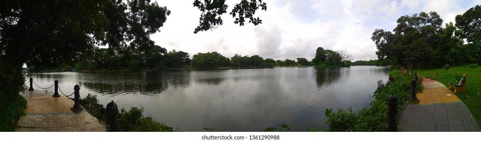 Rabindra Sarobar, artificial lake and landmark in Kolkata, West Bengal, India. Formerly Dhakuria Lake. Renamed the lake as a tribute to the great Bengali writer, Nobel laureate Rabindranath Tagore.
