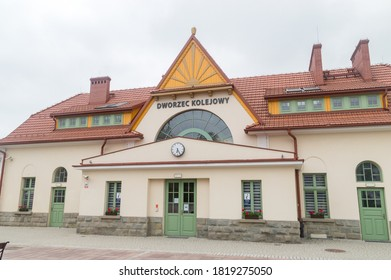 Rabka-Zdroj, Poland - June 14, 2020: Building of Rabka-Zdroj railway station (Polish: Dworzec Kolejowy).