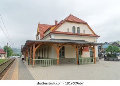Rabka-Zdroj, Poland - June 14, 2020: Building of Rabka-Zdroj railway station.