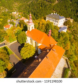 The Rabstejn nad Strelou is considered as the smallest town in Czech Republic which has very important, rich and interesting history. Aerial view of amazing European monument.
