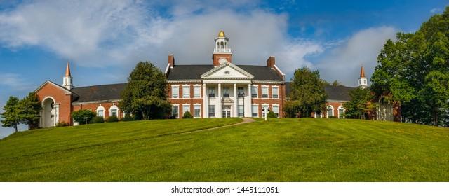 RABUN GAP, GA, USA - MAY 4: Edward R. Hodgson Hall on May 4, 2019 at Rabun Gap-Nacoochee School in Gabun Gap, Georgia.