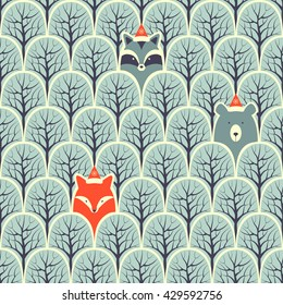 Raccoon, fox and bear in a forest seamless pattern.Design background.