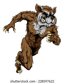 A raccoon man character or sports mascot charging, sprinting or running