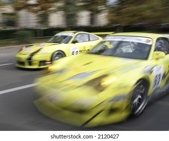 Race car at a demonstrative show in Bucharest Ring Tour