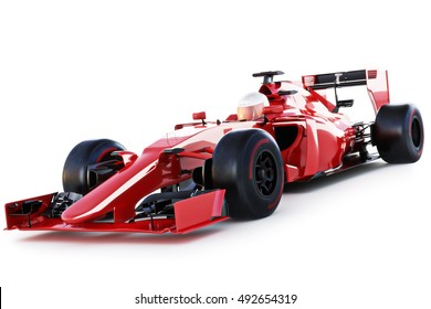 Race Car And Driver Angled View On A White Isolated Background 3d Rendering
