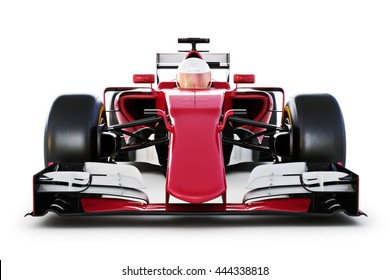 Race Car And Driver Front View On A White Isolated Background 3d Rendering