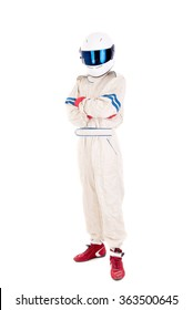 race car driver isolated in white background