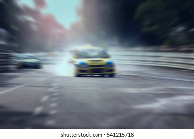 Race car racing on speed track with motion blur,Motorsport concept.