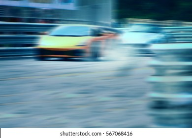 Race car racing on speed track with motion blur,Motorsports concept.