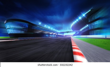 race course with and main stadium at motion blur, racing sport digital background illustration