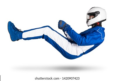 Race driver in blue white motorsport overall hover over ground in driving seat position with shoes gloves and safety crash helmet, isolated on white abstract racing background.