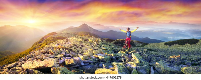 Race marathon Ukrainian Carpathians, in Gorgany, among stone heath, mosses, lichens and alpine pine, morning and evening, day and in the dark with a reliable light carbon fiber bike
