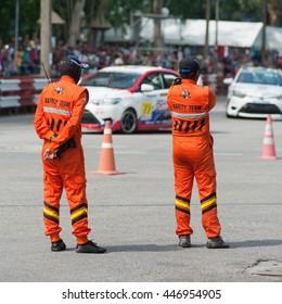 Race marshall stand guard
