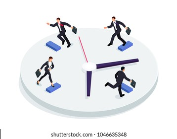 Race over time concept. Isometric businessmen running on a clock isolated on a white background. 3d businessmen running one after the other with briefcases. Raster illustration.