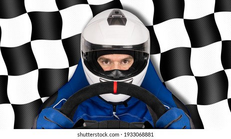 race or rallye driver blue overall suit with steering wheel and crash helmet in racing seat isolated on black white chequered flag background. motorsport esports simracing concept.