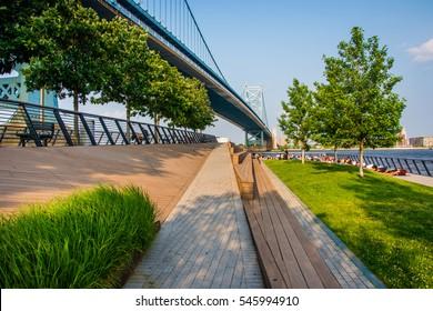 Race Street Pier and the Benjamin Franklin Bridge, in Philadelphia, Pennsylvania.