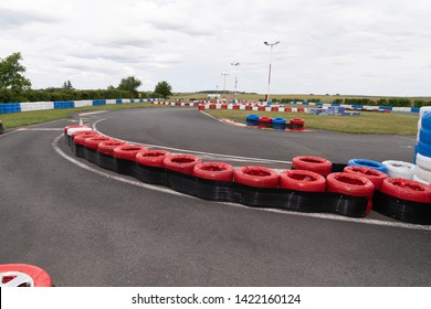Race track go kart barrier made with old tires for safety concept