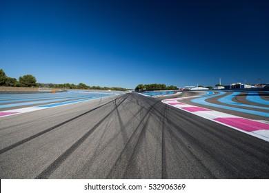 Race track. Tire tracks