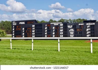 Race Track Tote Board in a Green Field