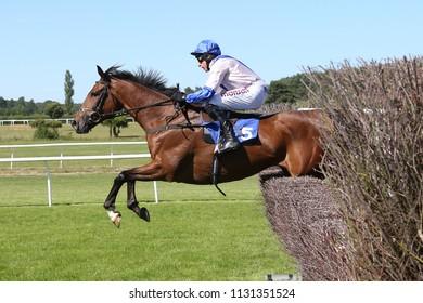 Racehorse Amore Alamo ridden by Harry Skelton jumps the last fence at Market Rasen Races : Market Rasen Racecourse, Lincolnshire, UK : 22 June 2018