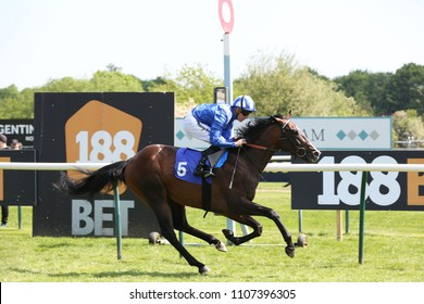 Racehorse Ibraz ridden by Jim Crowley gallops past the Post and wins the Novice 3yo Auction Stakes at Nottingham Races : Nottingham Racecourse, Nottingham, UK : 22 May 2018 : Pic Mick Atkins