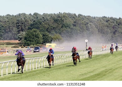 Racehorse Longhouse Sale ridden by Harry Skelton spread eagles the field and wins the NH Flat Race at Market Rasen Races : Market Rasen Racecourse, Lincolnshire, UK : 22 June 2018
