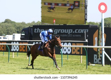 Racehorse Mashaheer ridden by Jim Crowley winning the 1m Classified Stakes at Nottingham Races : Nottingham Racecourse, Nottingham, UK : 22 May 2018 : Pic Mick Atkins