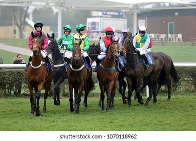 Racehorses circle at the start before running in a Steeplechase at Market Rasen. Market Rasen Racecourse, Lincs, UK : 2018 : Pic Mick Atkins