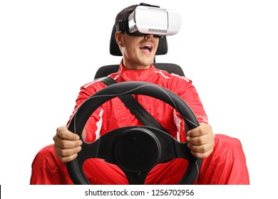 Racer in a car seat holding a steering wheel and wearing VR headset isolated on white background