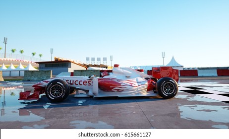 Racer Of Formula 1 In A Racing Car Race And Motivation Concept Wonderfull Sunset