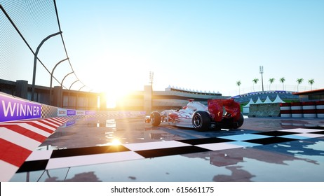 Racer of formula 1 in a racing car. Race and motivation concept. Wonderfull sunset. 3d rendering.