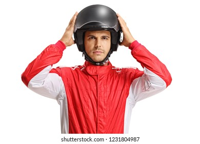 Racer with a helmet isolated on white background