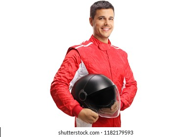 Racer with a helmet looking at the camera and smiling isolated on white background