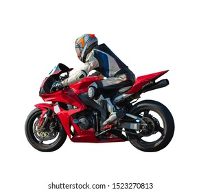 racer on a sports motobike, white isolated background