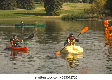 Racers participate in the Utah Great Pumpkin Regatta at Sugarhouse Park, Salt Lake City, Utah. October 17, 2015