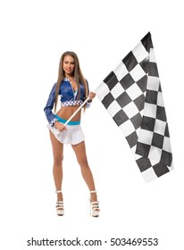 Races. Sexy brunette posing with checkered flag