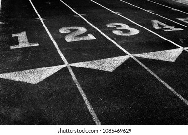 Racetrack with line for running race competition