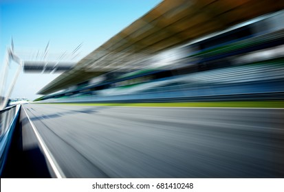 Racetrack in motion blur, racing sport background .