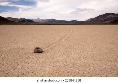 Racetrack Playa is a seasonally dry lake (playa) located in the northern part of the Panamint Mountains that is famous for rocks that mysteriously move across its surface.