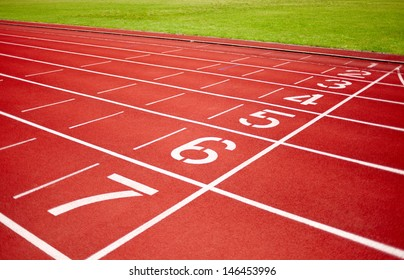 racetrack in red with track number