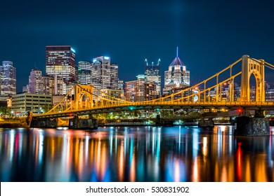 Rachel Carson Bridge (aka Ninth Street Bridge) spans Allegheny river in Pittsburgh, Pennsylvania