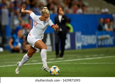 Rachel Daly (Houston Dash) of England controls the ball during the 2019 FIFA Women's World Cup France group D match between Japan and England at Stade de Nice on June 19, 2019 in Nice, France.